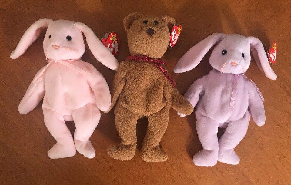 Lot Of 3 All ERROR TY Beanie Babies CURLY FLOPPITY HOPPITY Bear Bunny Baby Tag
