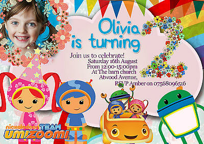 Personalised Team Umizoomi Boy//Girl Birthday Party Invites inc envelopes B