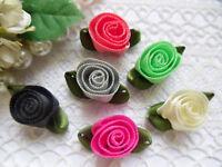 "7/8""(W) MIX Assorted 6 Colors Swirl Satin Ribbon Rose Flowers 30 pcs-R0048MG"