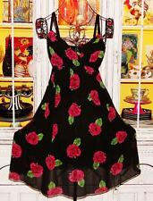 Betsey Johnson VINTAGE Dress RED ROSE Floral SILK CHIFFON Wrap FLARE Black 8 M