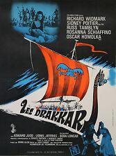"""""""LES DRAKKARS (THE LONG SHIPS)"""" Affiche originale entoilée (Richard WIDMARK)"""