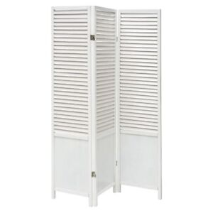 Details About Floor Screen Room Divider White Wood 3 Panel Slatted 52 L X 1 D 69 H