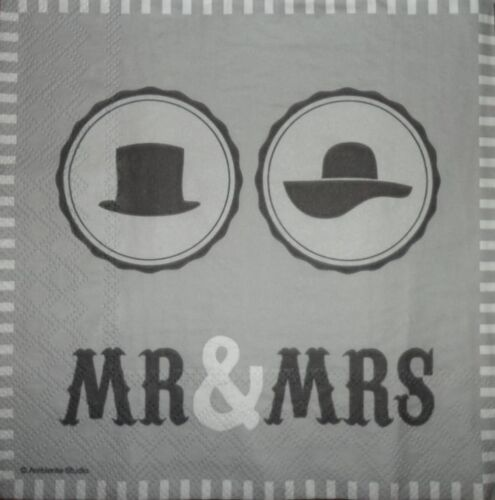 4 x Single Paper Napkins Mr /& Mrs Hats Decoupage and Crafting 1