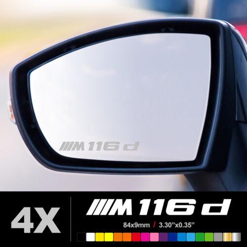 BMW M 116d Autocollants Stickers Retroviseur Retro Voiture Auto Dépoli Argent