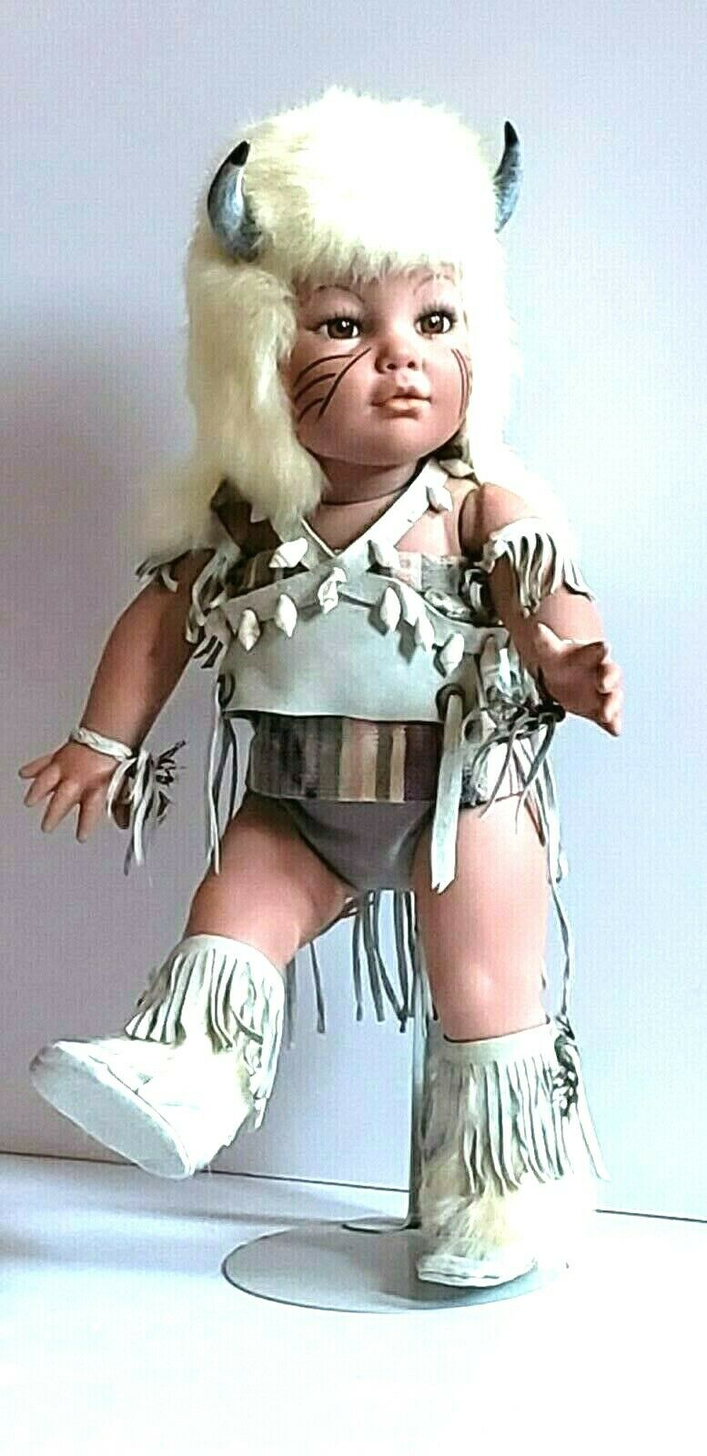 Claire-Marie Native American Buffalo HeadKleid Jointed Porcelain Doll With Stand