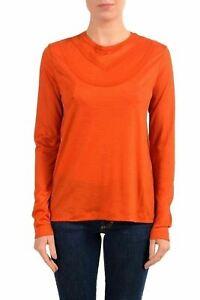 Maison-Margiela-4-100-Wool-Orange-Long-Sleeve-Women-039-s-Blouse-US-S-IT-40