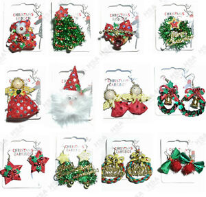 26bf98757 Image is loading Flashing-Christmas-Brooch-Broach-Earrings -Novelty-Stocking-Filler-