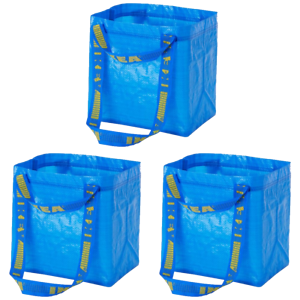 IKEA-BRATTBY-SMALL-REUSABLE-SHOPPING-LAUNDRY-GROCERY-TOTE-BAG-Set-of-3