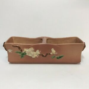 Roseville-Pottery-Pink-Apple-Blossom-Window-Box-Planter-Vase-369-12-16-034-Vintage