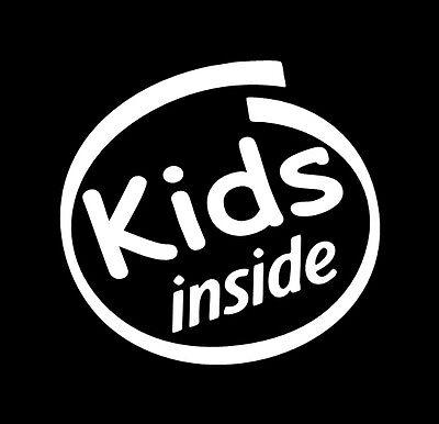VINYL DECAL - KIDS INSIDE - family sticker baby on board car window bench **