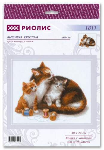 "Counted Cross Stitch Kit RIOLIS 1811 /""Cat with Kittens/"""