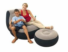 Intex Ultra Lounge Inflatable Chair w/ Ottoman Sofa Dorm Chair