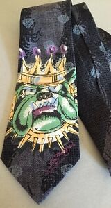 Ed-Hardy-Crown-Bulldog-Dog-King-100-Silk-Tie-Spike-Collar-New-Tags