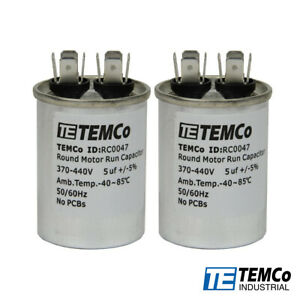 TEMCo-55-uf-MFD-370-440-VAC-volts-Round-Run-Capacitor-50-60-Hz-Lot-2