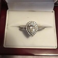 Solitaire Diamond Teardrop Cluster Ring in 14k Solid WhiteGold (.565 TCW)