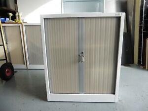 OFFICE WHITE STEEL TAMBOUR CABINET 1085MM HIGH BRISBANE
