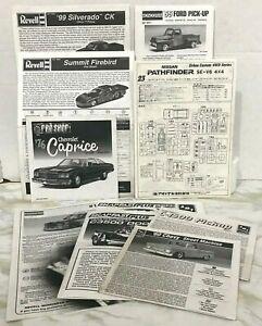 Model-Car-Pick-up-Truck-INSTRUCTIONS-Lot-Revell-Nissan-Chevy-SnapFast-AMT-ERTL