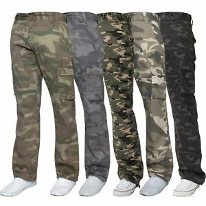 Kruze-Mens-Cargo-Combat-Trousers-Army-Camouflage-Camo-Military-Pants-All-Waists