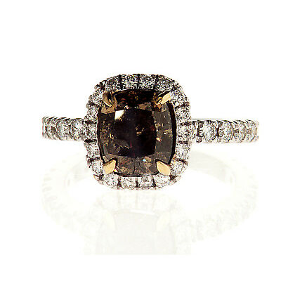 3 CT Diamond Ring Natural Brown Yellow Color 18K Gold GIA Certified Cushion Cut
