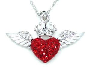 New chunky silver tone heart crown wings red crystal pendant new chunky silver tone heart crown wings red aloadofball Gallery