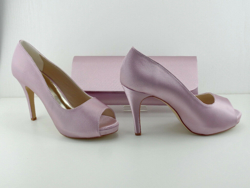 Matching Schuhes and Bag Pink Blush Satin 4.5' Heel .75' Platform BNIB