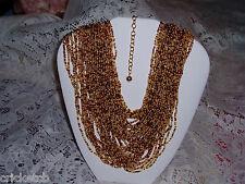Exquisite JOAN RIVERS 50 Strand Seedbead Torsade Necklace in Browns & Cream NIB