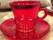 Anchor Hocking Royal Ruby Red Glass Cup & Saucer Banded Depression Glass Vintage