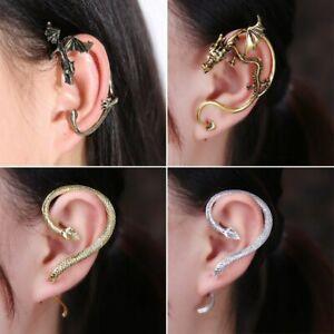 Details About Vintage Punk Clip Snake Ear Cuff Stud Women Men Wrap Cartilage Earring Jewelry