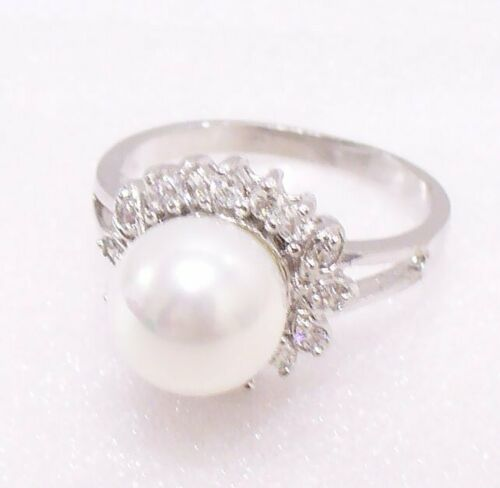 Women Luxury  Shell Pearl Ring Size J L  M O Cubic Zirconia White Gold Plated UK