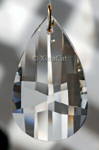 Huge-63mm-Mosaic-Facet-Pear-Crystal-Clear-Prism-SunCatcher-2-5-inches