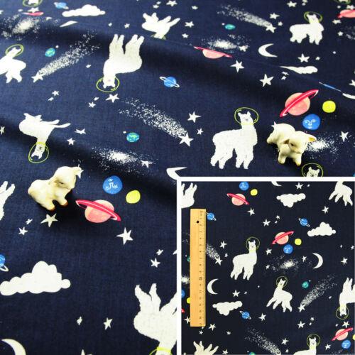 NAVY BLUE Meter//Fat Quarter//FQ Cotton Fabric Sew Quilt Craft Animal Cute Llama