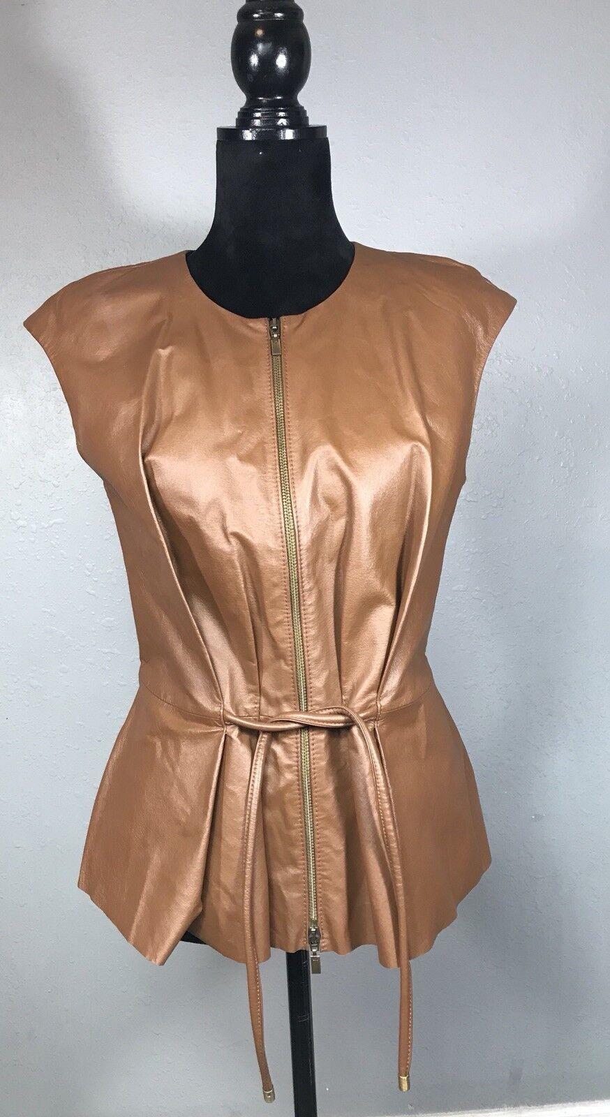 W By Worth damen braun Leather Peplum Zip Up Sleeveless Vest Top Größe 2   Small
