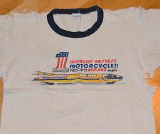 RaRe *1971 HARLEY DAVIDSON* vtg motorcycle tshirt (M) #1 70's Champion Blue-Bar