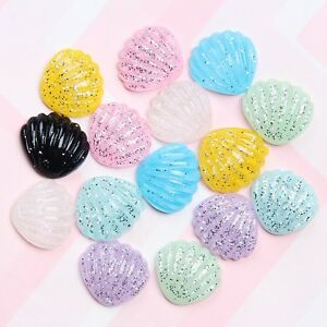 20-Mixed-Color-Flatback-Resin-Glitter-Crystal-Shell-Scallop-Cabachons-20X18mm