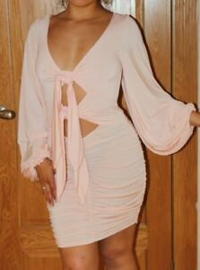 BNWOT LOADED PALE BABY PINK TIE FRONT KEYHOLE CUT OUT BODYCON DRESS SIZE 10