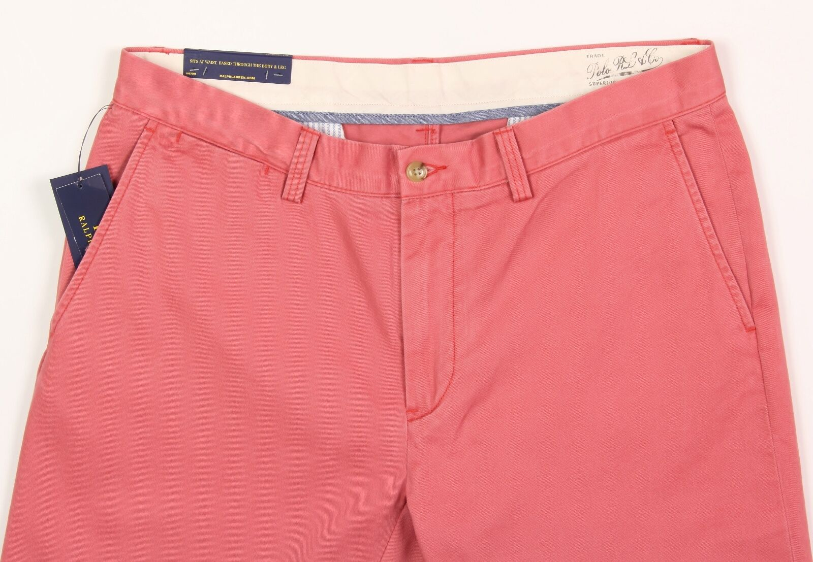 Men's POLO RALPH LAUREN Pink Red Cotton Pants 38x32 38 NEW NWT Classic Fit