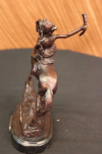 American Warrior Riding Strong Horse Bronze Sculpture Frederic Remington Figure