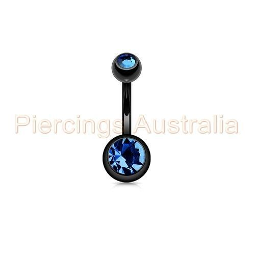 Titanium Anodized Double Jewelled Belly Button Bar Navel Ring Body Jewellery