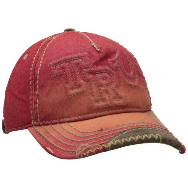 8c8e5a50190400 True Religion Unisex Distressed Horseshoe Baseball Hat Cap Red Tr1751