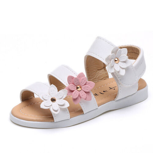 Girls Kids Ankle Strap Flower Beach Sandals Soft Leather Flat Shoes Casual YHS