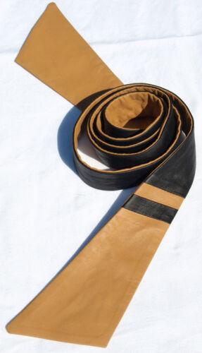 Ceinture cuir noir beige Binder Cuir Ceinture foulard cravate Leather Belt Ceinture