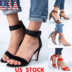US-Women-Kitten-Mid-Heel-Hook-amp-Loop-Sandals-Ladies-Ankle-Strap-Shoes-Casual-Party