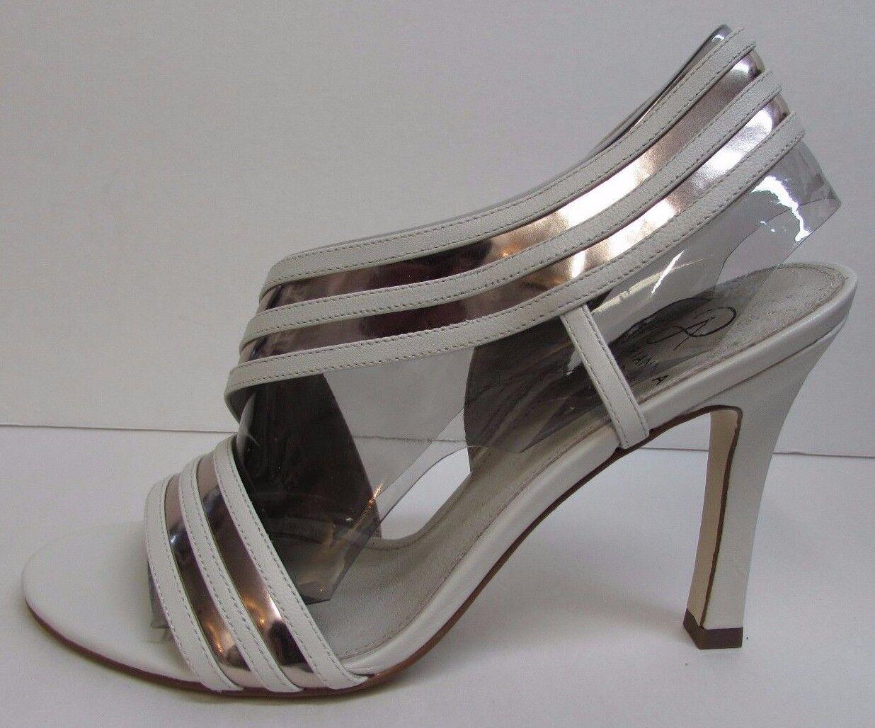 Adrianna Papell Size 8 Vanilla Bone Pelle Open Toe Heels New Donna Shoes