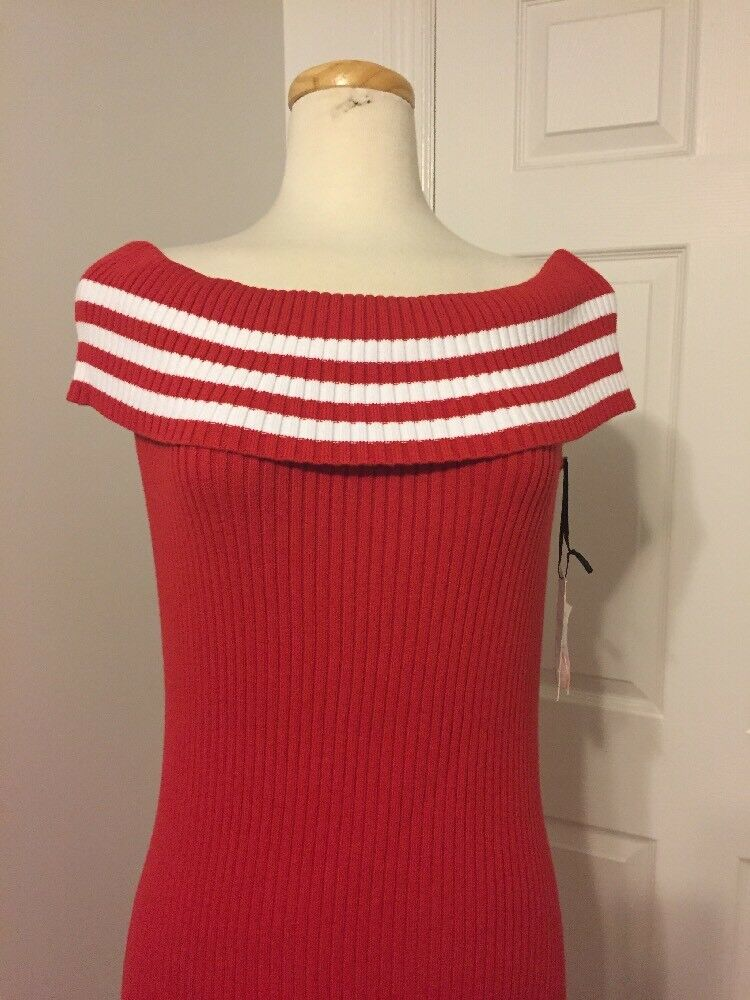 NWT W by WORTH Very Cherry Optic White Off the the the Shoulder Knit Dress SIZE L aac7c3
