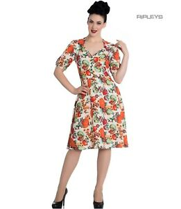 Hell Bunny 40s 50s Pin Up Vintage Dress HARVEST Autumn Pumpkins XS 8 LAST ONE