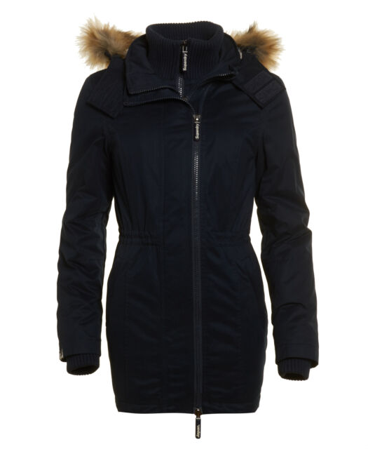 New Womens Superdry Unique Sample Microfibre Tall Windparka Jacket Size XS Navy