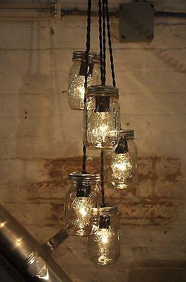 5 Mason Jar Chandelier Pendant Light Fixture Beautiful Rustic Industrial Retro