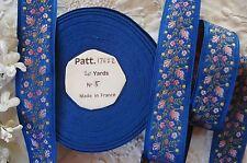 1y VINTAGE FRENCH BLUE PINK ROSE FLOWERS WOVEN JACQUARD RIBBON TRIM DRESS HAT