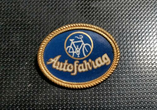 autofahrag Brooch Celluloid 20er J.29x23mm Bicycle Having Tweer TURCK Old +