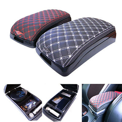 Universal Fit Car Center Armrest Multi Console Box Faux Leather Storage Box Red